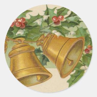 Oro Belces del navidad del vintage y acebo Pegatina Redonda