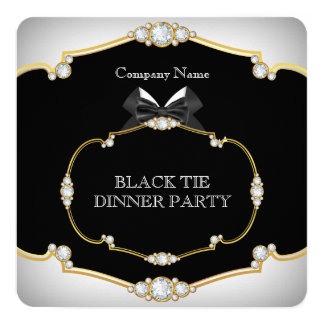 """Oro blanco 2 del fiesta de cena del lazo negro del invitación 5.25"""" x 5.25"""""""