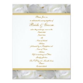 """Oro blanco color de rosa elegante del boda de invitación 4.25"""" x 5.5"""""""