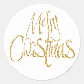 Oro blanco de Navidad de las Felices Navidad Pegatina Redonda