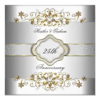 """Oro blanco de plata Templat del 25to aniversario Invitación 5.25"""" X 5.25"""""""