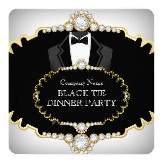 """Oro blanco del fiesta de cena del lazo negro del invitación 5.25"""" x 5.25"""""""