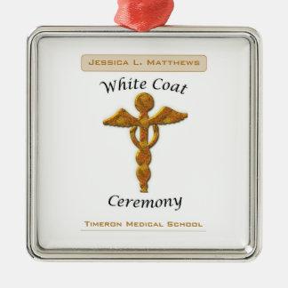 Oro blanco médico, artículo cuadrado de la adorno navideño cuadrado de metal