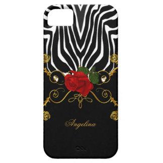 oro blanco negro rojo de los rosas abstractos de iPhone 5 carcasa