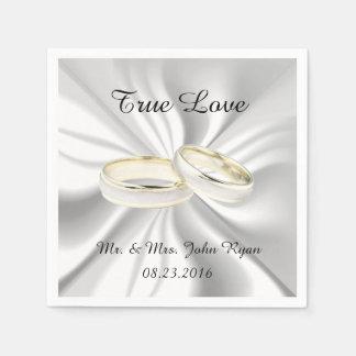 Oro blanco y boda blanco del satén servilletas desechables