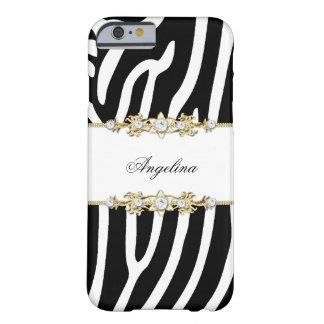 Oro blanco y negro de la raya de la cebra funda de iPhone 6 barely there