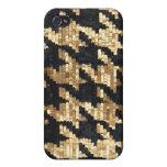 Oro Bling Houndstooth del brillo de la chispa iPhone 4 Protector