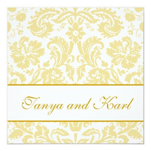 """Oro, boda floral del modelo del damasco de la invitación 5.25"""" x 5.25"""""""