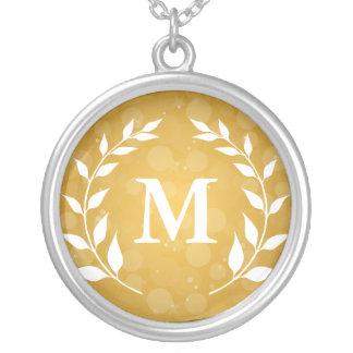 Oro Bokeh y monograma del laurel Collar Personalizado