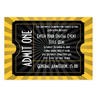 Oro + Boleto negro del acontecimiento, tamaño de Tarjetas Personales