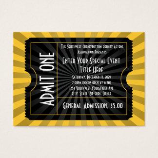 Oro + Boleto negro del acontecimiento, tamaño de Tarjetas De Visita Grandes