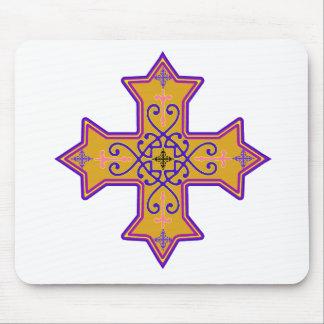 Oro bonito y cruz copta rosada tapete de ratones