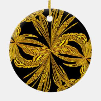 Oro botánico abstracto adorno redondo de cerámica