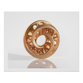 Oro brillante B de Moebius de la escultura virtual Póster