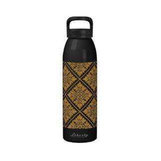 Oro brillante brillante de la teja inglesa antigua botella de agua reutilizable