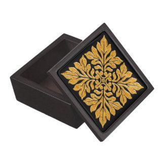 Oro brillante brillante de la teja inglesa antigua caja de joyas de calidad