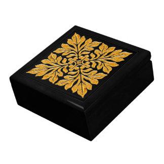 Oro brillante brillante de la teja inglesa antigua joyero cuadrado grande