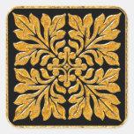 Oro brillante brillante de la teja inglesa antigua pegatinas cuadradases