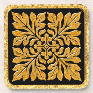 Oro brillante brillante de la teja inglesa antigua posavasos
