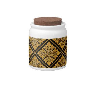 Oro brillante brillante de la teja inglesa antigua tarro de cerámica para dulces