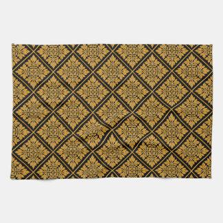 Oro brillante brillante de la teja inglesa antigua toalla de cocina