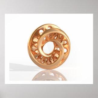 Oro brillante C de Moebius de la escultura virtual Póster