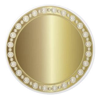 Oro brillante hermoso una impresión del diamante pomo de cerámica