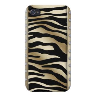 Oro Brown de la frontera de la joyería de la cubie iPhone 4 Carcasas