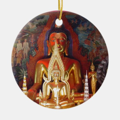 Oro Buda de Tailandia del templo budista del AMI Adorno Redondo De Cerámica