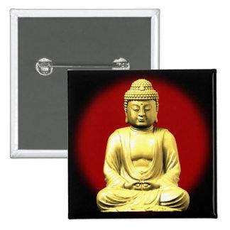 Oro Buda en rojo Pin Cuadrado