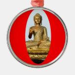 Oro Buda y rojo sagrado por SHARLES Adorno Redondo Plateado