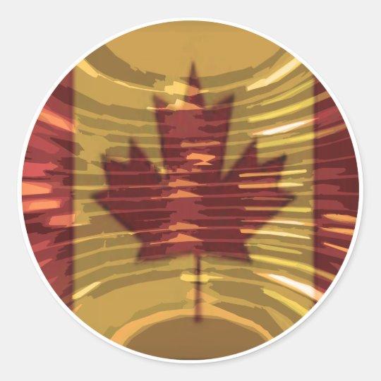 Oro canadiense MapleLeaf - éxito en diversidad Pegatina Redonda