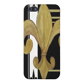 Oro caso móvil de la flor de lis blanco y negro iPhone 5 carcasas