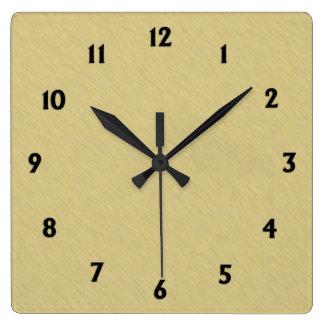 Oro cepillado suavidad con números negros reloj cuadrado