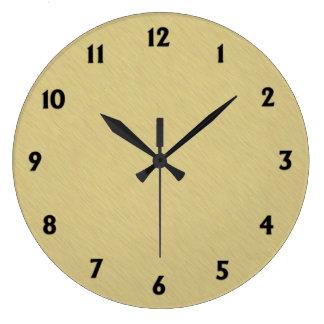 Oro cepillado suavidad con números negros reloj redondo grande