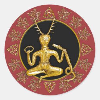 Oro Cernunnos, acebo, y Tri-quatra #11 - pegatina