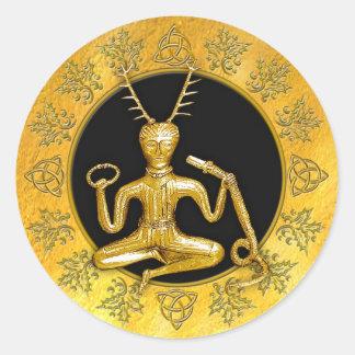 Oro Cernunnos, acebo, y Tri-quatra #8 - pegatina