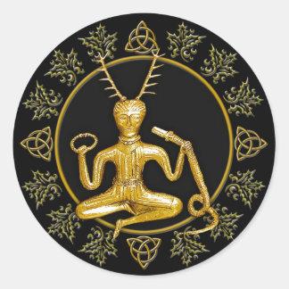 Oro Cernunnos, acebo, y Tri-quatra #9 - pegatina