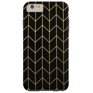 Oro Chevron en moda moderna del fondo negro Funda De iPhone 6 Plus Tough