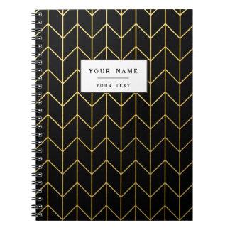 Oro Chevron en moda moderna del fondo negro Libro De Apuntes Con Espiral