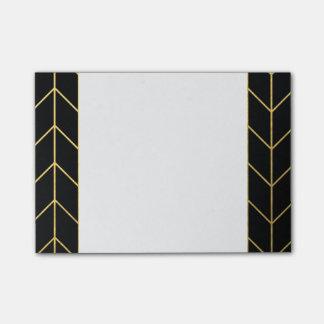 Oro Chevron en moda moderna del fondo negro Notas Post-it®