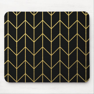 Oro Chevron en moda moderna del fondo negro Tapete De Raton
