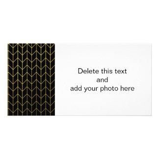 Oro Chevron en moda moderna del fondo negro Tarjeta Fotografica