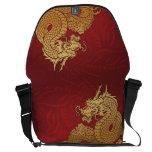 Oro chino del rojo del dragón bolsas messenger