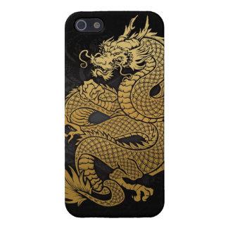 oro chino en espiral del dragón en negro iPhone 5 funda