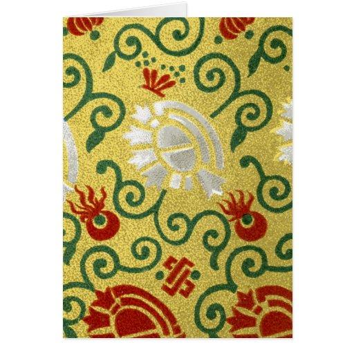 Oro chino y estampado de flores rojo tarjeta de felicitación