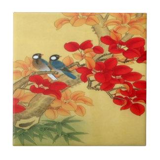 Oro chino y floral rojo azulejo cuadrado pequeño