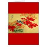 Oro chino y floral rojo felicitacion