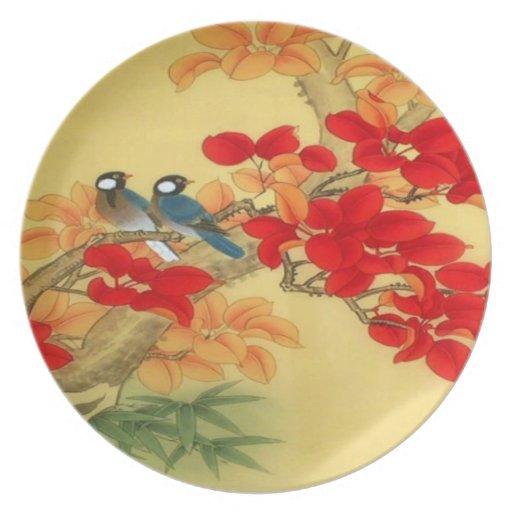 Oro chino y floral rojo plato para fiesta
