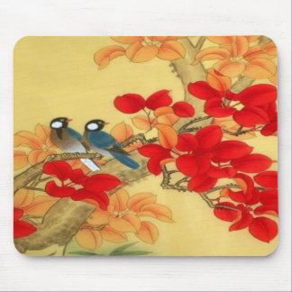 Oro chino y floral rojo tapete de raton